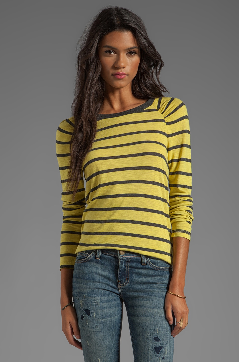 Velvet by Graham & Spencer Verna Charcoal Slub Stripe Long Sleeve in Sunbeam