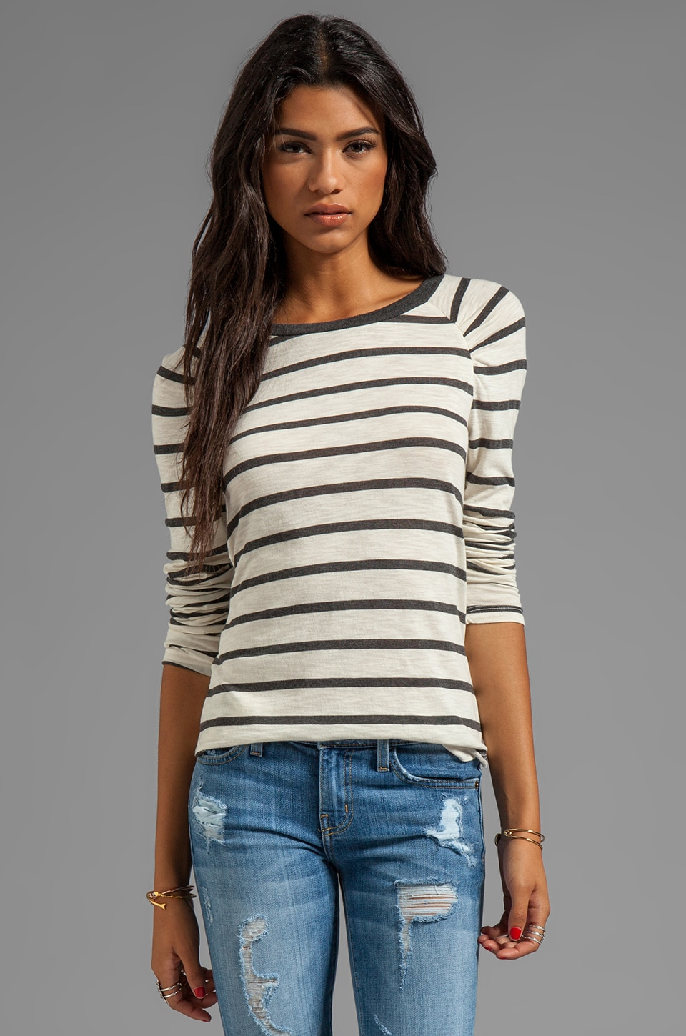 Velvet by Graham & Spencer Verna Charcoal Slub Stripe Long Sleeve in Cream