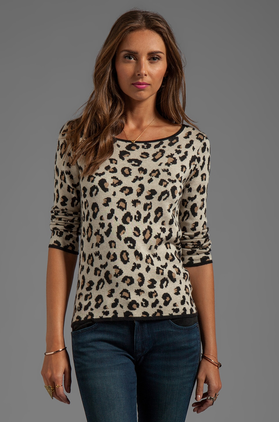 Velvet by Graham & Spencer Lovey Leopard Jacquard Long Sleeve Tee in Multi