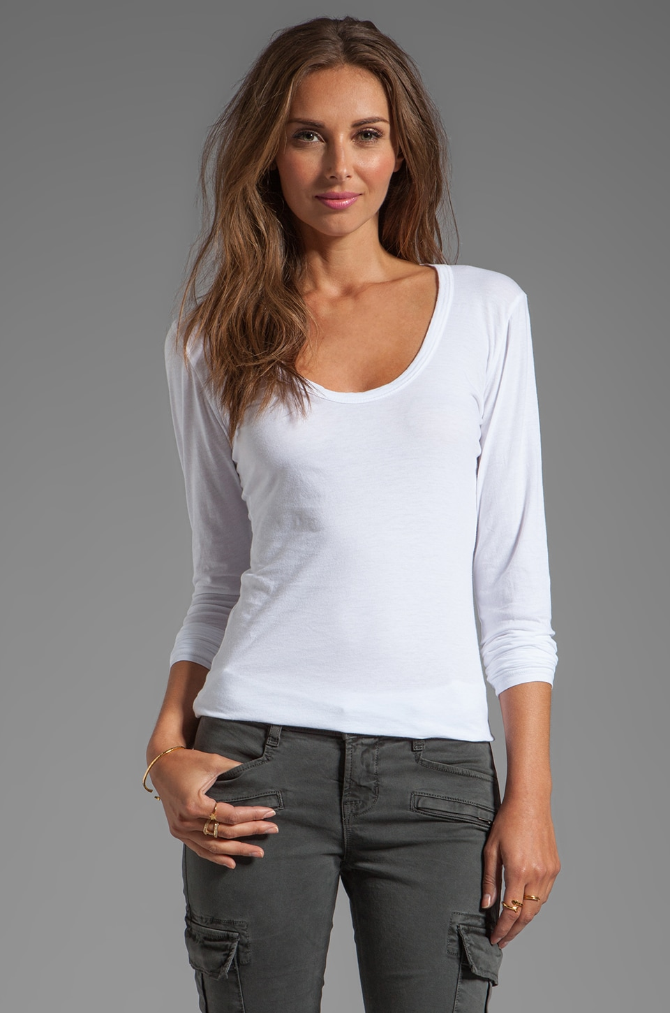 Velvet by Graham & Spencer Zipporah Gauzy Whisper Classic Long Sleeve in White