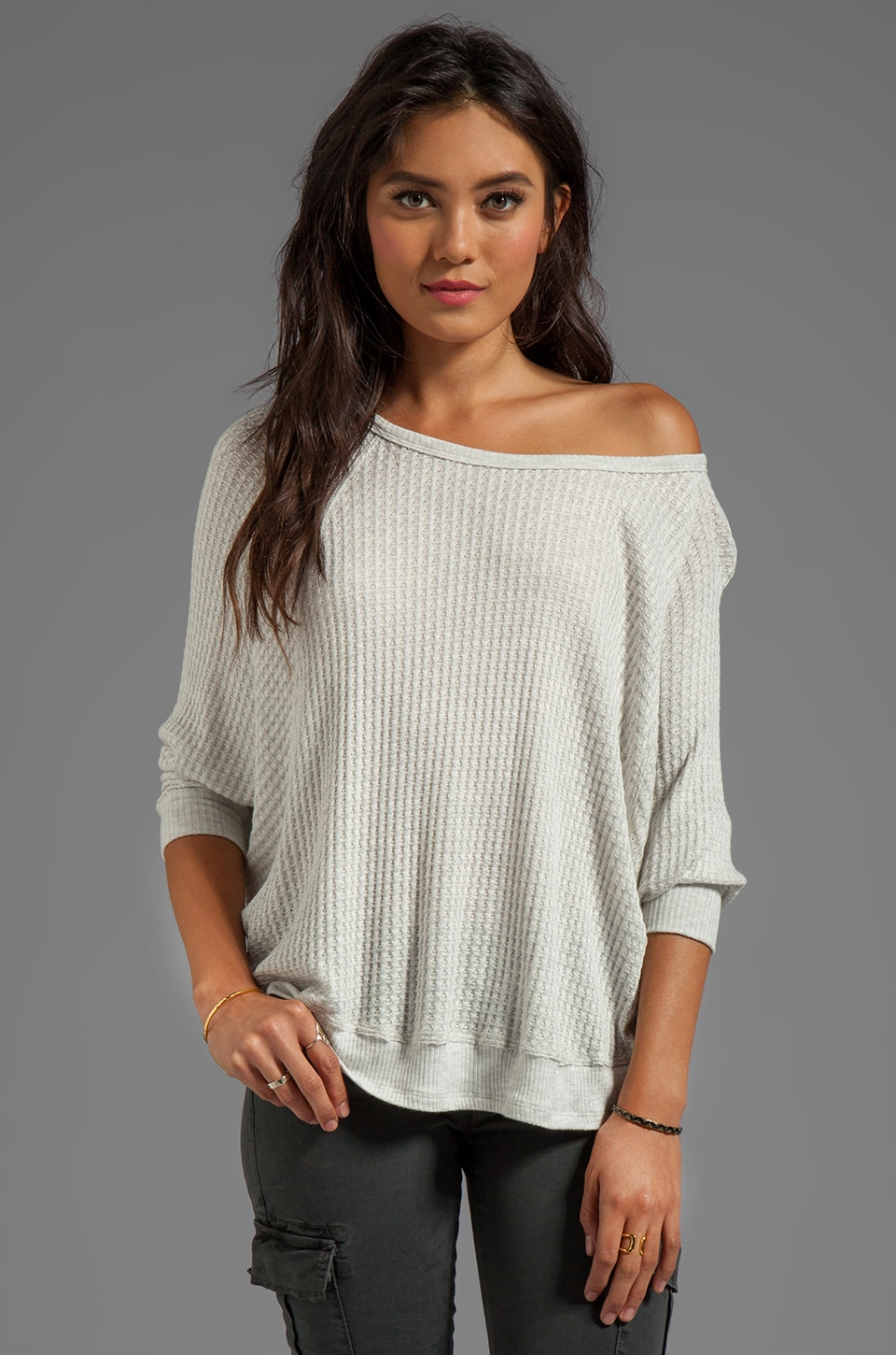 Velvet by Graham & Spencer Sydney Thermal Knit Over Sized Long Sleeve in Crea
