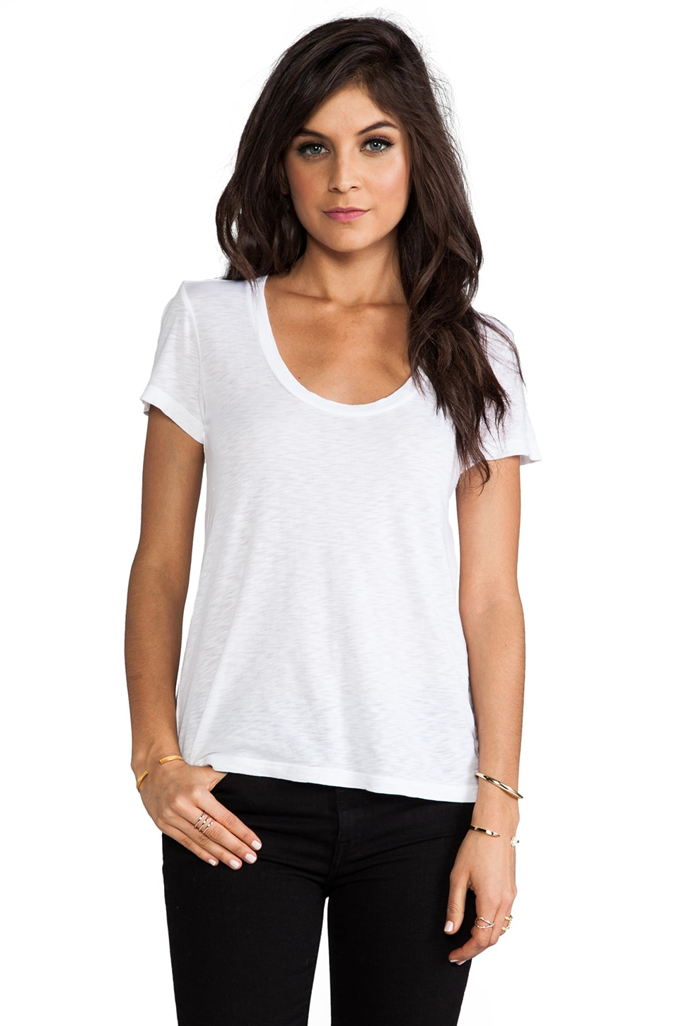 Velvet by Graham & Spencer Koren Lux Slub Short Sleeve Tee in White