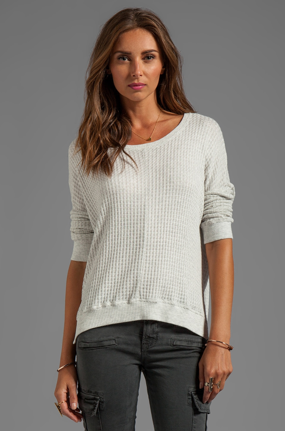 Velvet by Graham & Spencer Regine Thermal Knit Over Sized Long Sleeve in Cream
