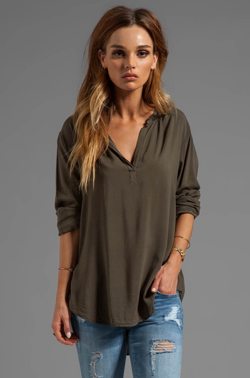 Velvet by Graham & Spencer Rosie Lux Slub Henly Long Sleeve in Safari