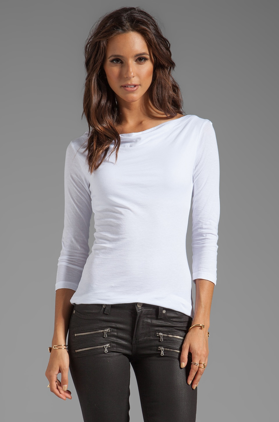 Velvet by Graham & Spencer Aileen Gauzy Whisper Classic Long Sleeve in White