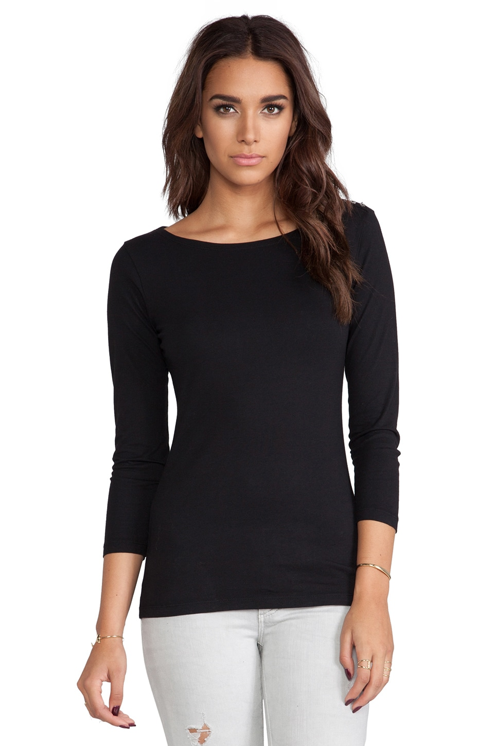Velvet by Graham & Spencer Natashya Baby Jersey Long Sleeve in Black