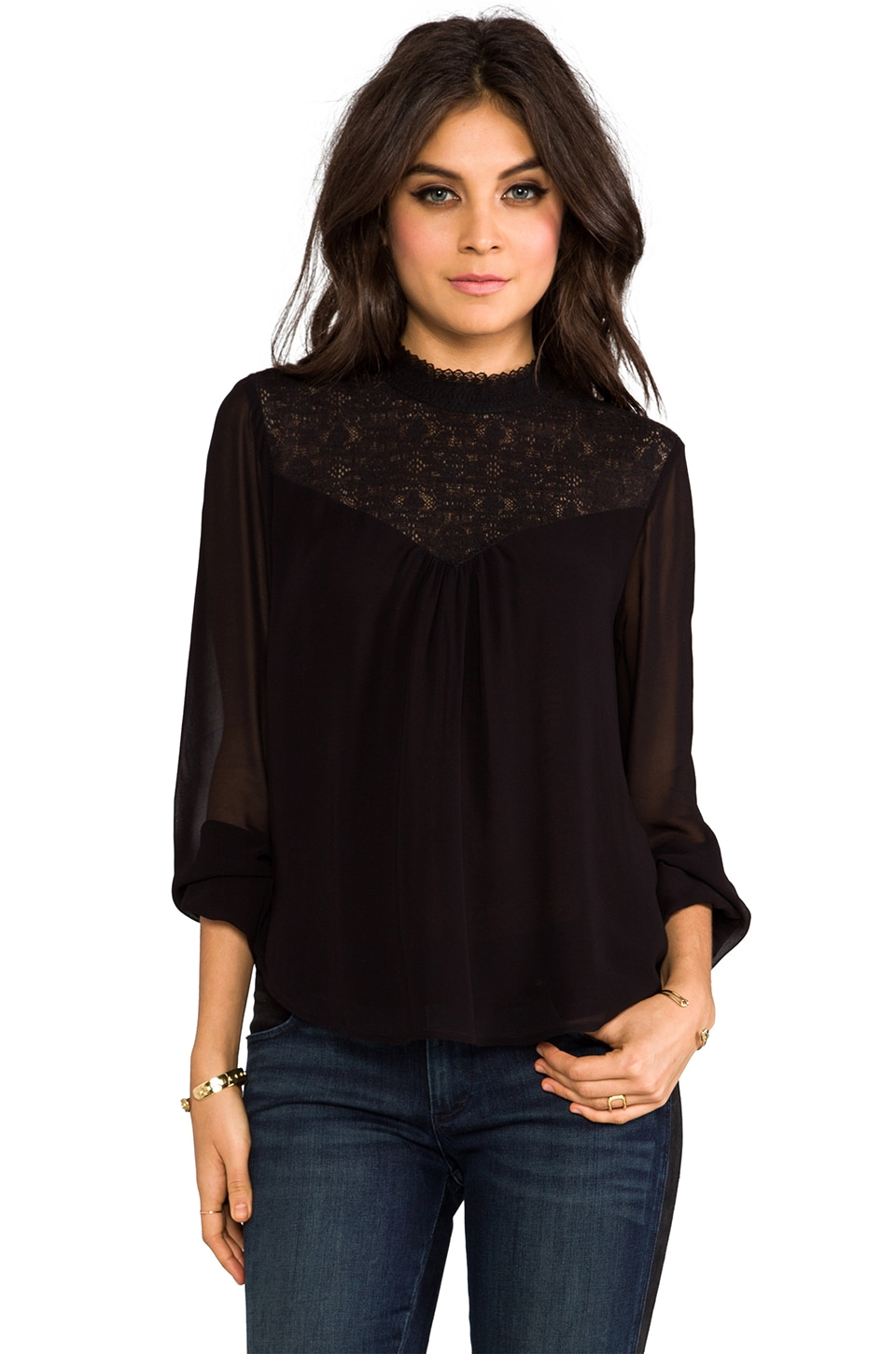 Velvet by Graham & Spencer Jaleesa Chiffon Top in Black