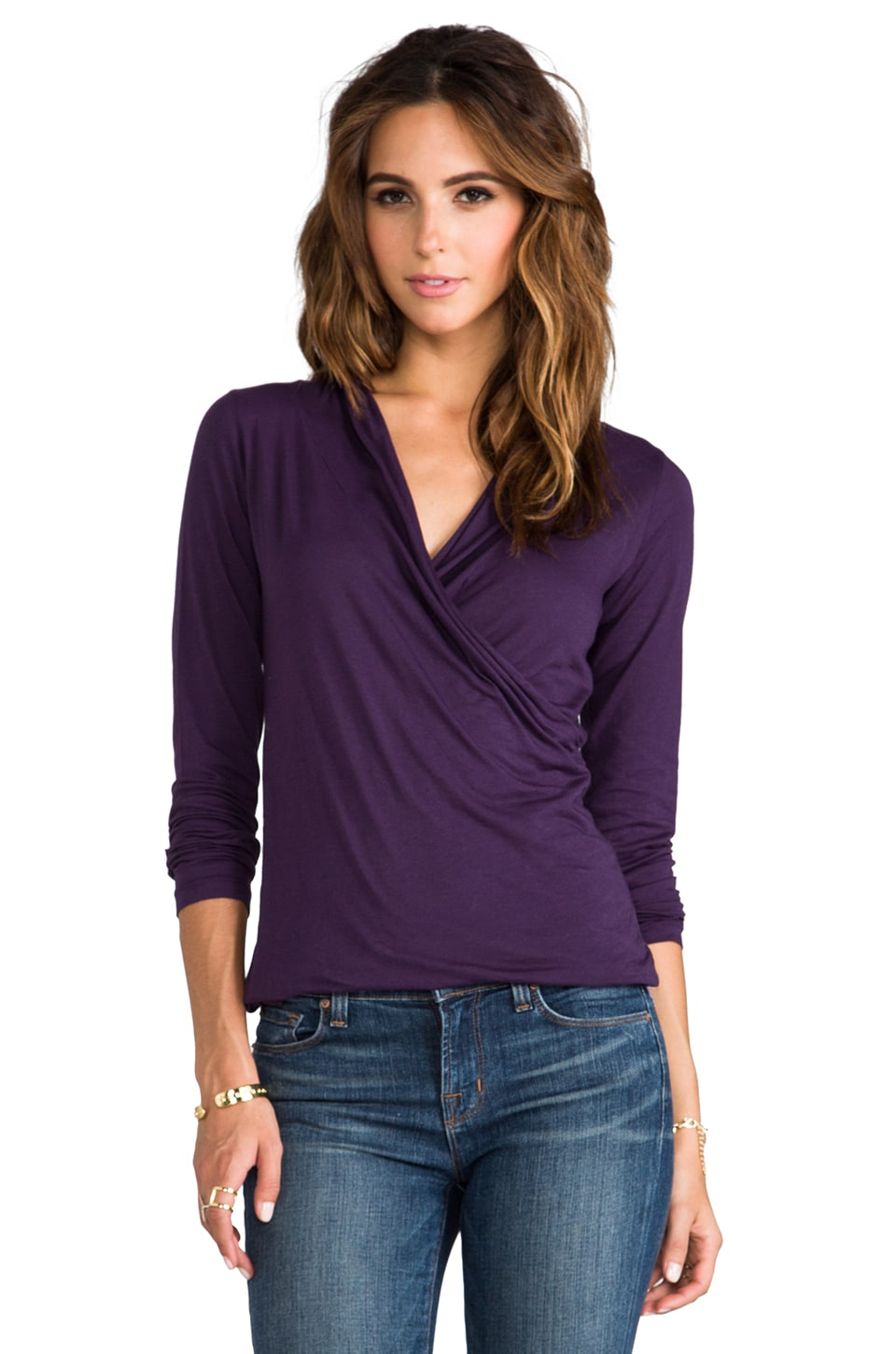 Velvet by Graham & Spencer Gauzy Whisper Meri Wrap Top in Loubelia