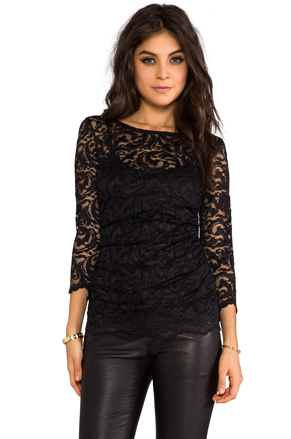 Velvet by Graham & Spencer Remly Stretch Lace Top in Black