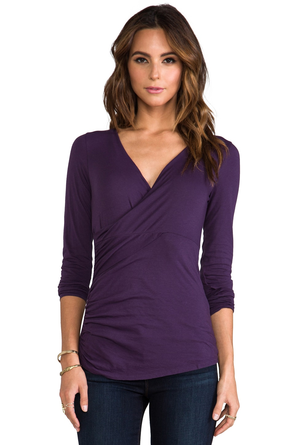 Velvet by Graham & Spencer Velvet Tisha Gauzy Whisper Wrap Top in Loubelia