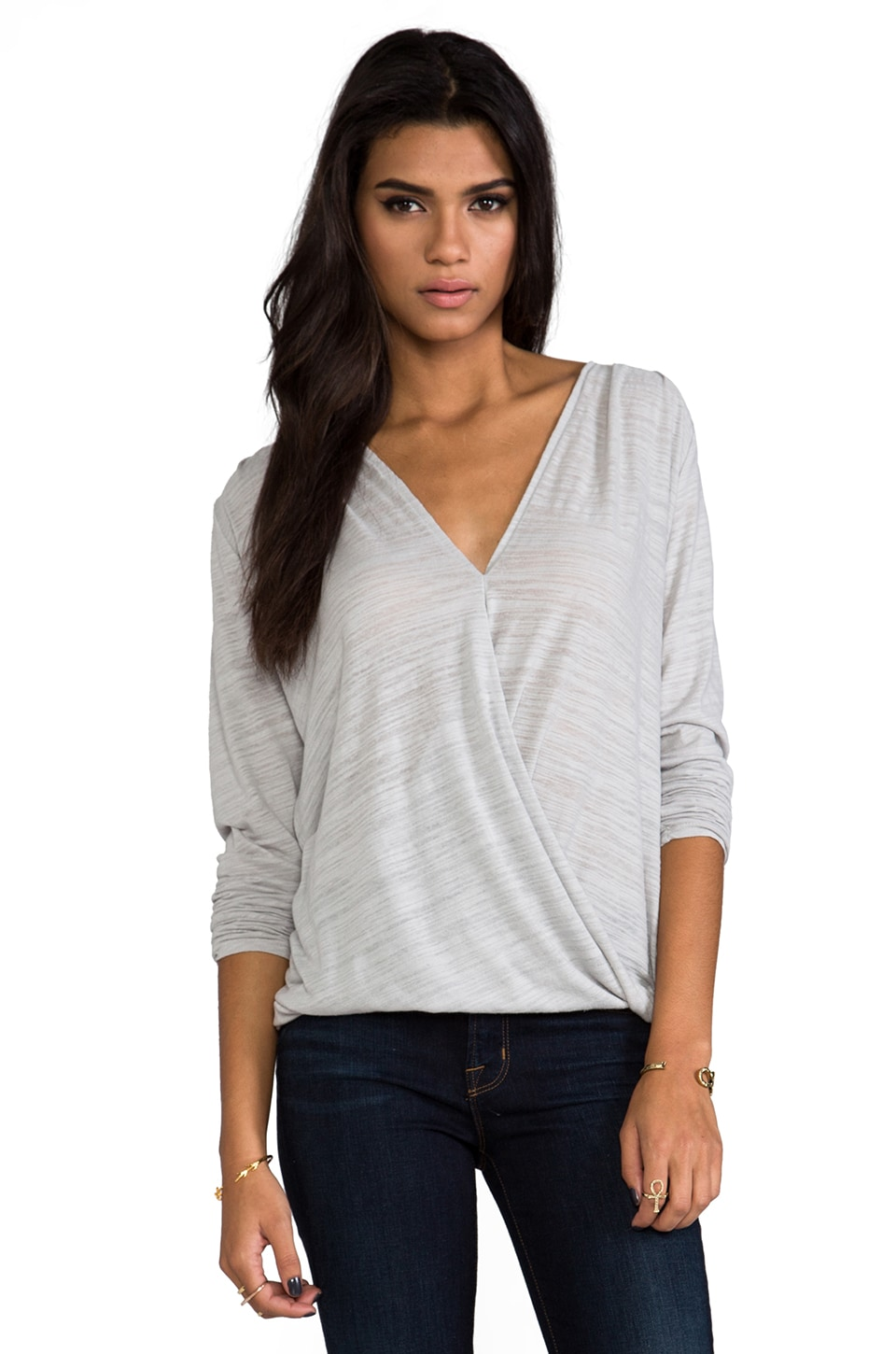 Velvet by Graham & Spencer Velvet Soft Texture Jeanne Wrap Top in Clove