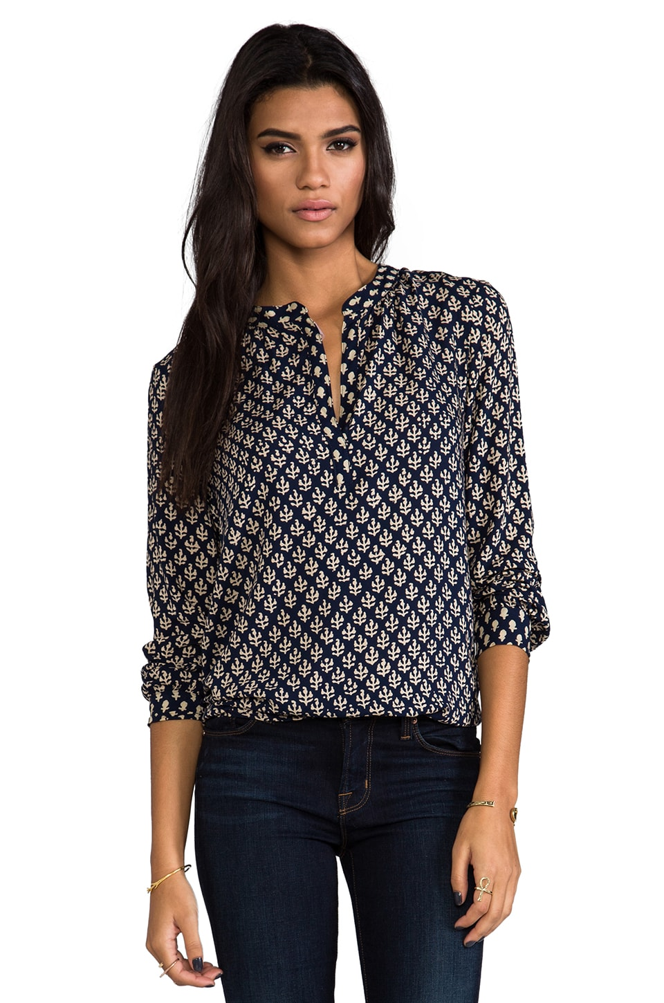 Velvet by Graham & Spencer Velvet India Challis Nyleen Top in Indigo