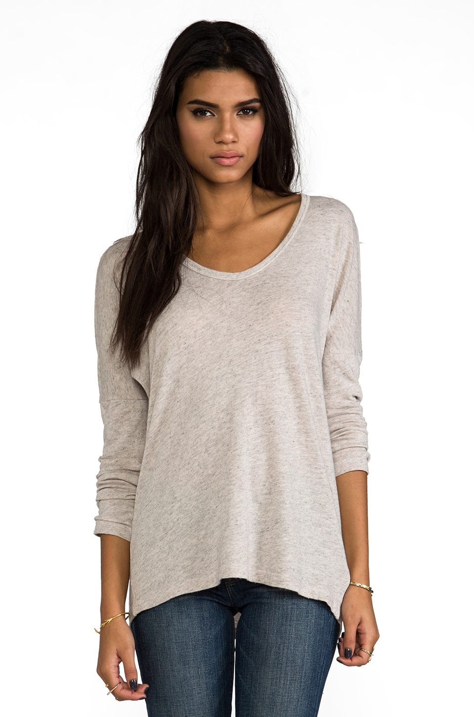Velvet by Graham & Spencer Velvet Cozy Heather Tianna Top in Pebble