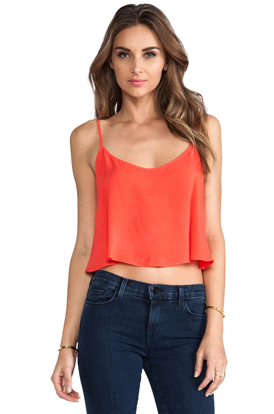Velvet by Graham & Spencer Lily Aldridge for Velvet Behati Rayon Voile Top in Fire