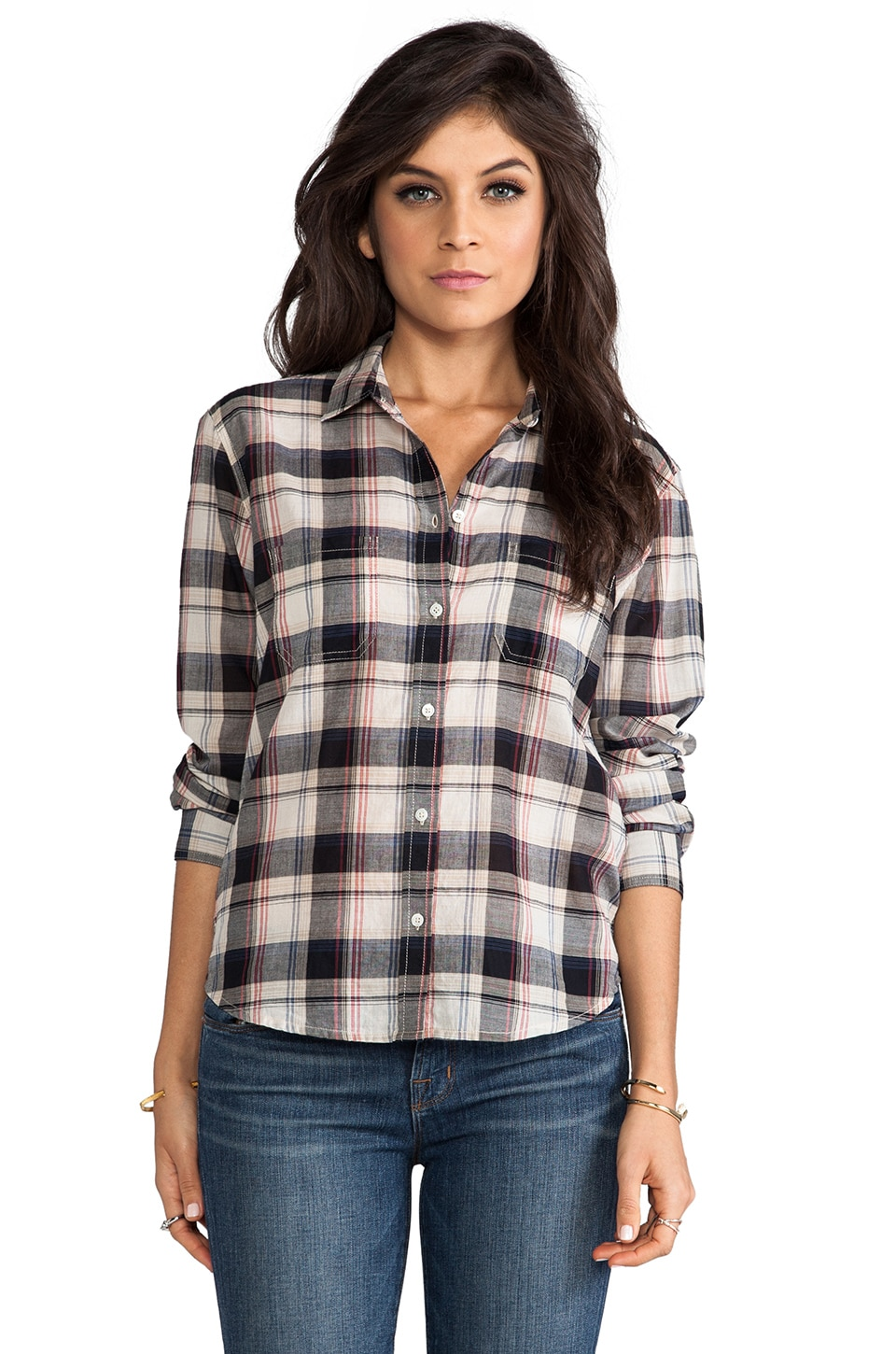 Velvet by Graham & Spencer Lily Aldridge for Velvet Rita Plaid Top in Bordeaux