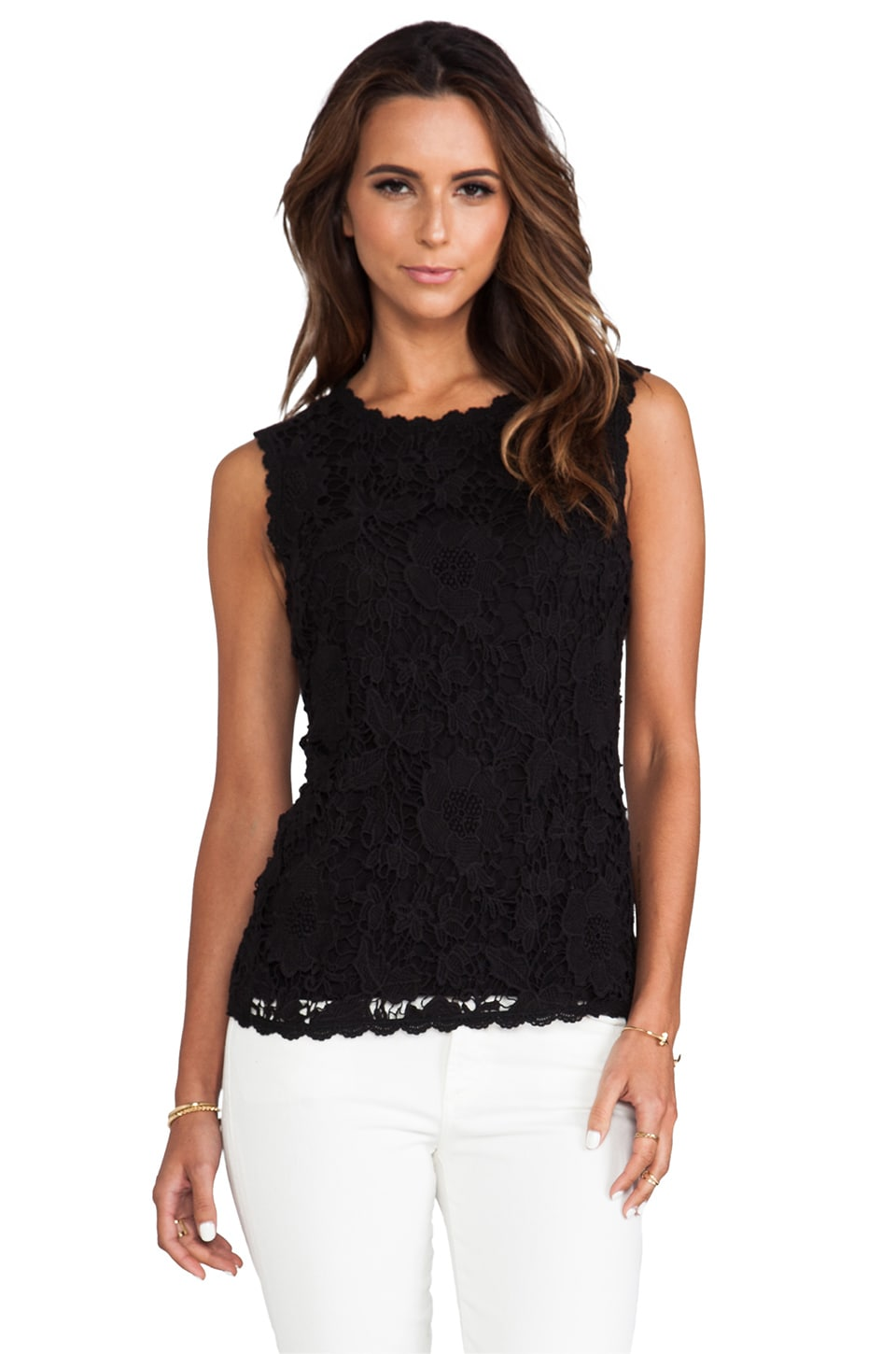 Velvet by Graham & Spencer Shireen Cotton Crochet Lace Top in Black