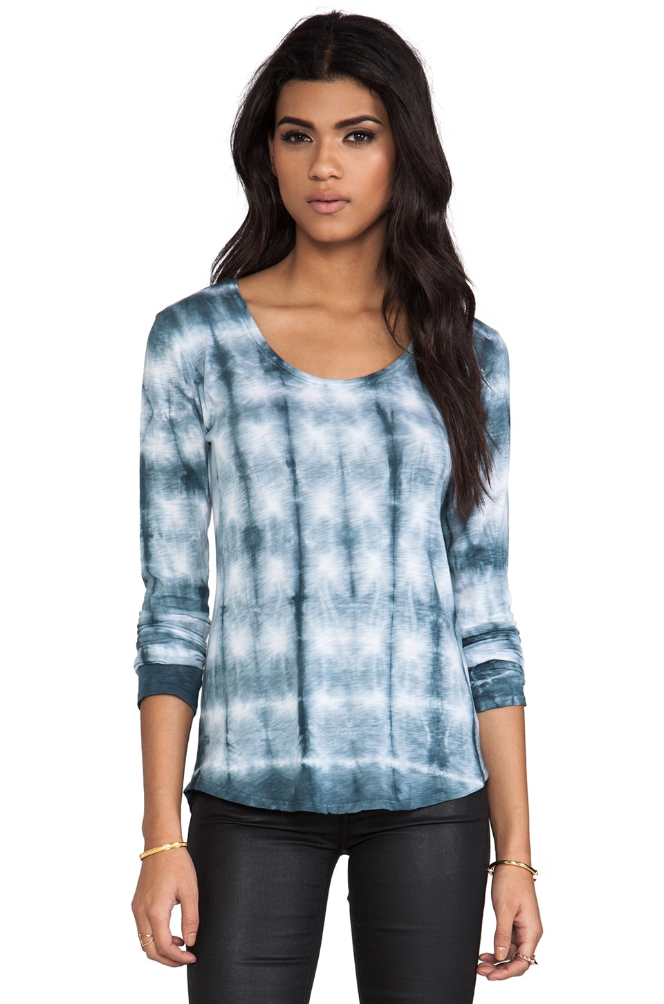 Velvet by Graham & Spencer Velvet Tie Dye Luxe Pond Top in Pond