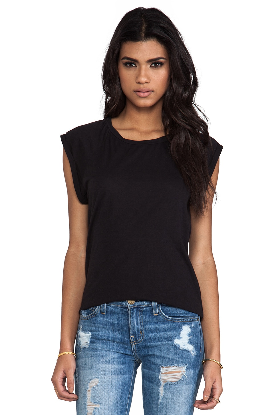 Velvet by Graham & Spencer Velvet Sheer Jersey Carisle Tee in Black