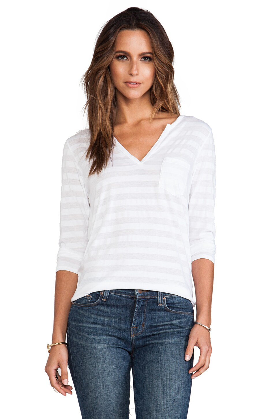 Velvet by Graham & Spencer Trudy Tonal Stripe Top in White