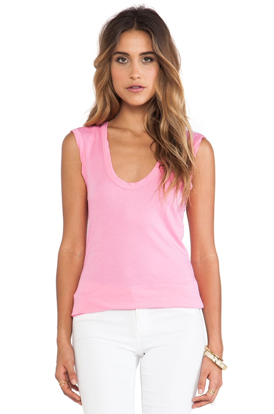 Velvet by Graham & Spencer Estina Gauzy Whisper Classics Tank in Pink Lemonade
