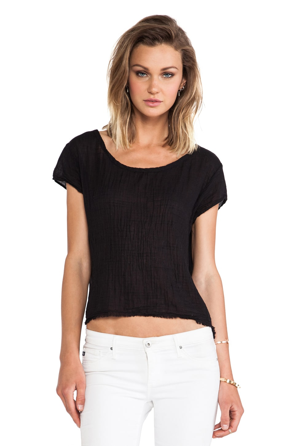 Velvet by Graham & Spencer Deion Sheer Jersey w/ Contrast Tee in Black
