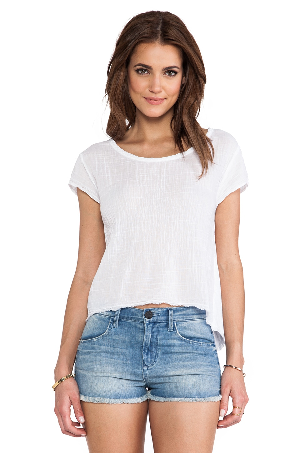Velvet by Graham & Spencer Deion Sheer Jersey w/ Contrast Tee in White