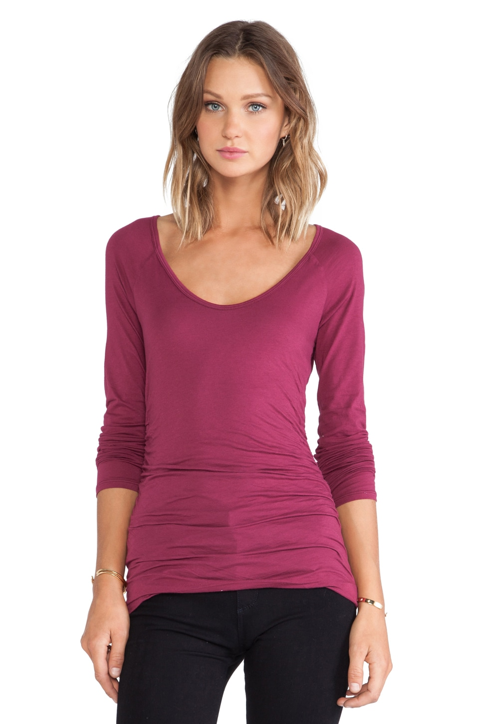 Velvet by Graham & Spencer Amora Gauzy Whisper Top in Wildberry