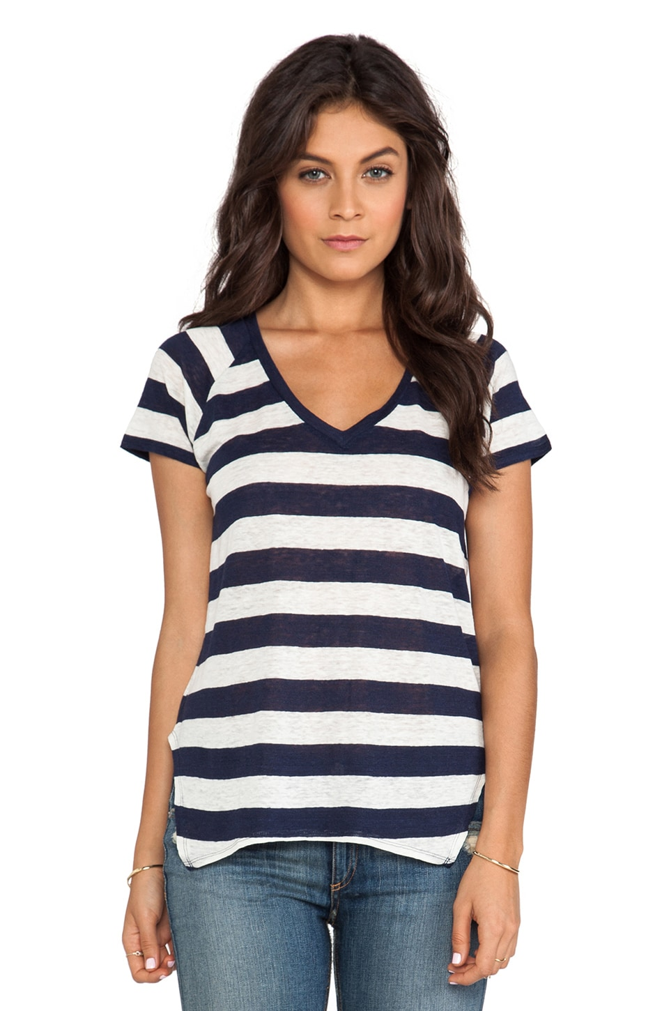 Velvet by Graham & Spencer Fara Stripe Linen Knit Tee in Midnight