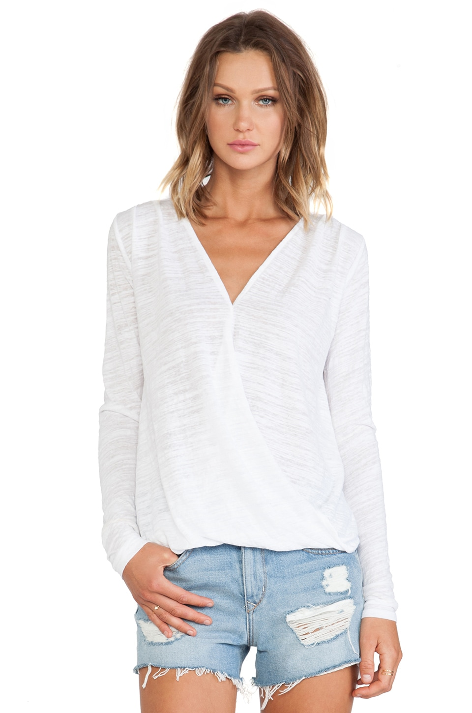 Velvet by Graham & Spencer Jeanne Soft Textured Knit Top in White
