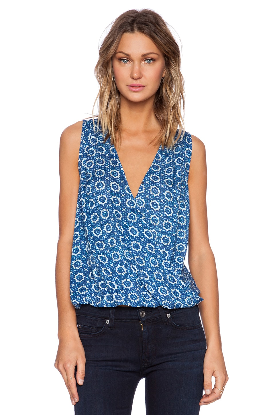 Velvet by Graham & Spencer Printed Challis Zita Drape Tank in Blue & White