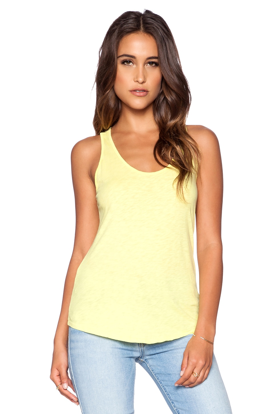 Velvet by Graham & Spencer Cotton Slub Duchess Tank in Sunshine