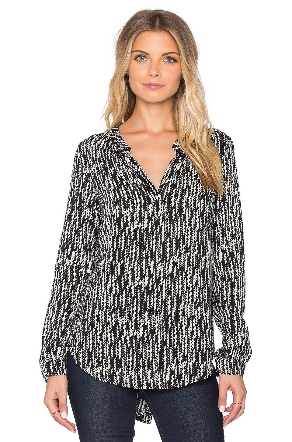 Velvet by Graham & Spencer Arista Printed Challis Long Sleeve Blouse in Black & Cream