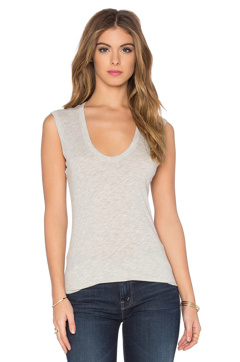 Velvet by Graham & Spencer Estina Gauzy Whisper Classics Scoop Neck Tank in Heather Grey