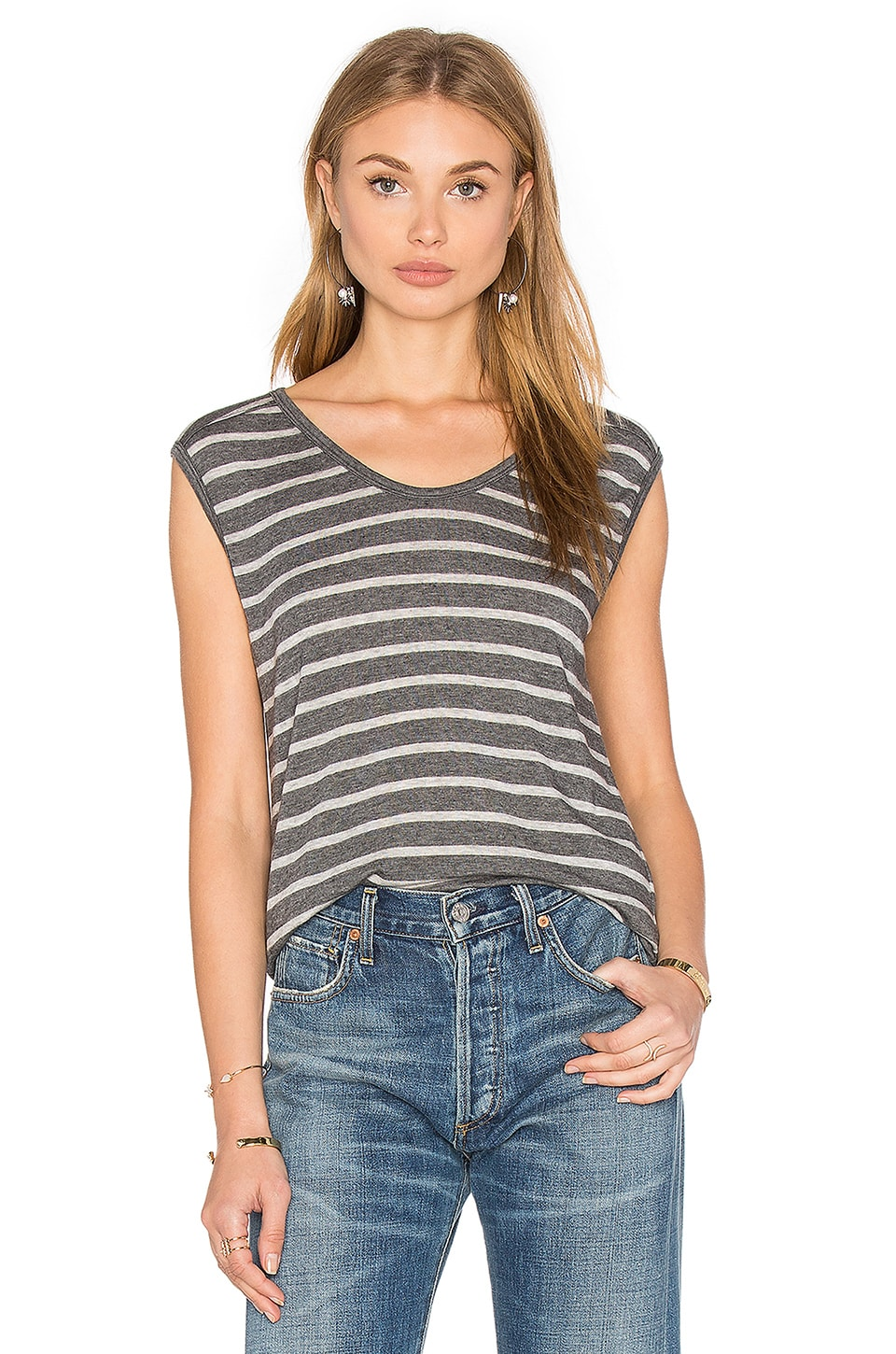 Velvet by Graham & Spencer Crimson Sleeveless Scoop Neck Top in Charcoal & Heather