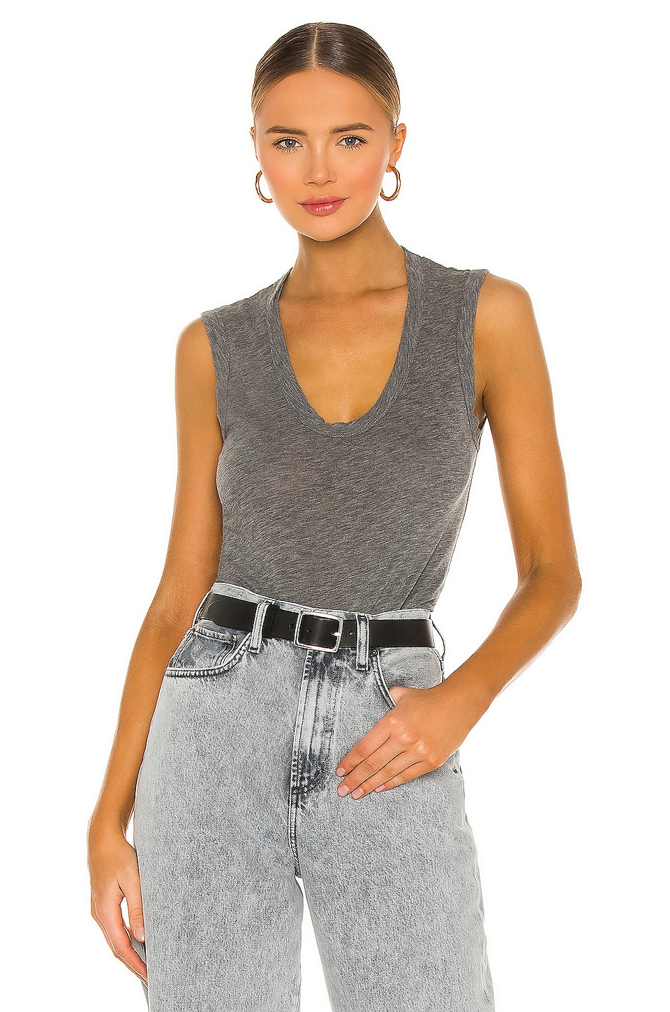 Velvet by Graham & Spencer Estina Scoop Neck Tank in Charcoal Grey