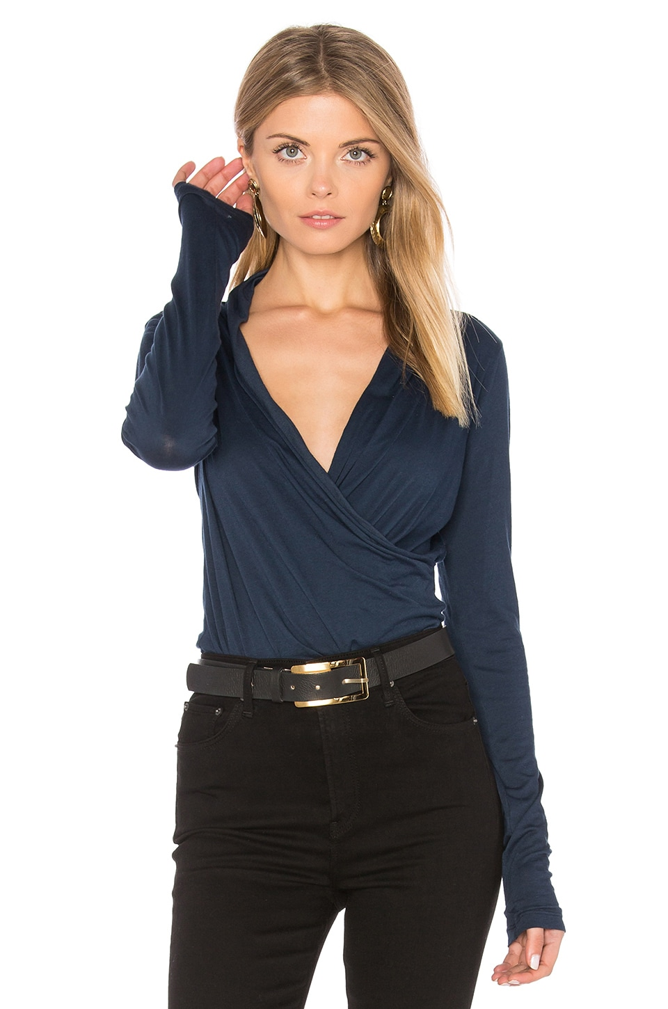 Velvet by Graham & Spencer Meri Cross Front Top in Midnight