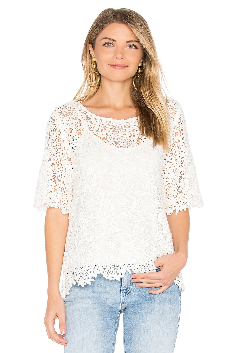 Velvet by Graham & Spencer Colleen Lace Top in White