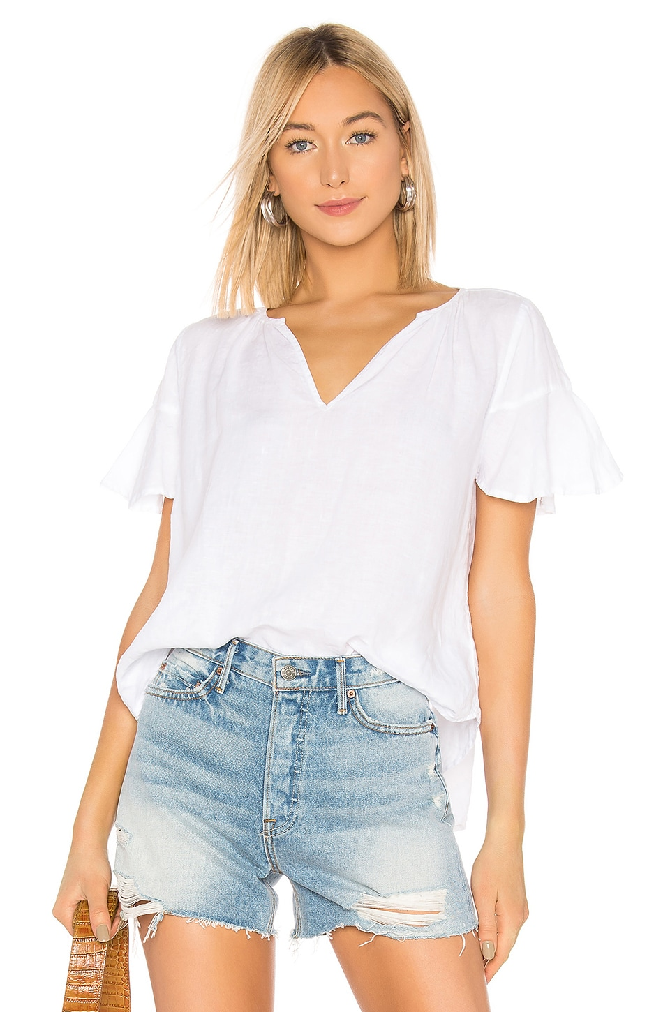 Velvet By Graham & Spencer Tops VELVET BY GRAHAM & SPENCER JENNIFER RUFFLE BLOUSE IN WHITE.
