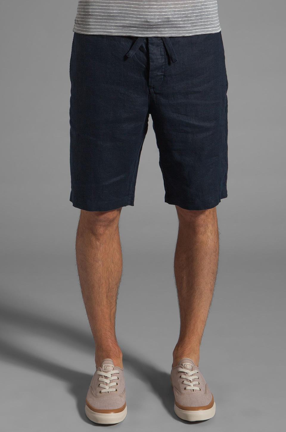 Vince Linen Solid Short in Coastal