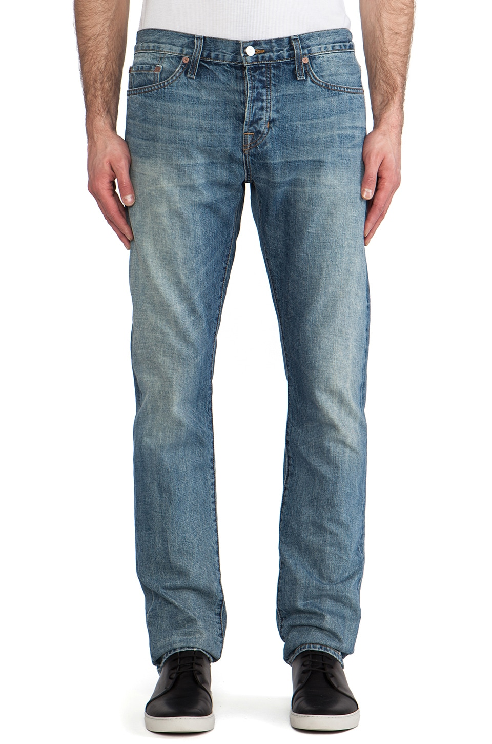 Vince Rhodes Slim Straight Selvedge Denim in Light Roped Wash