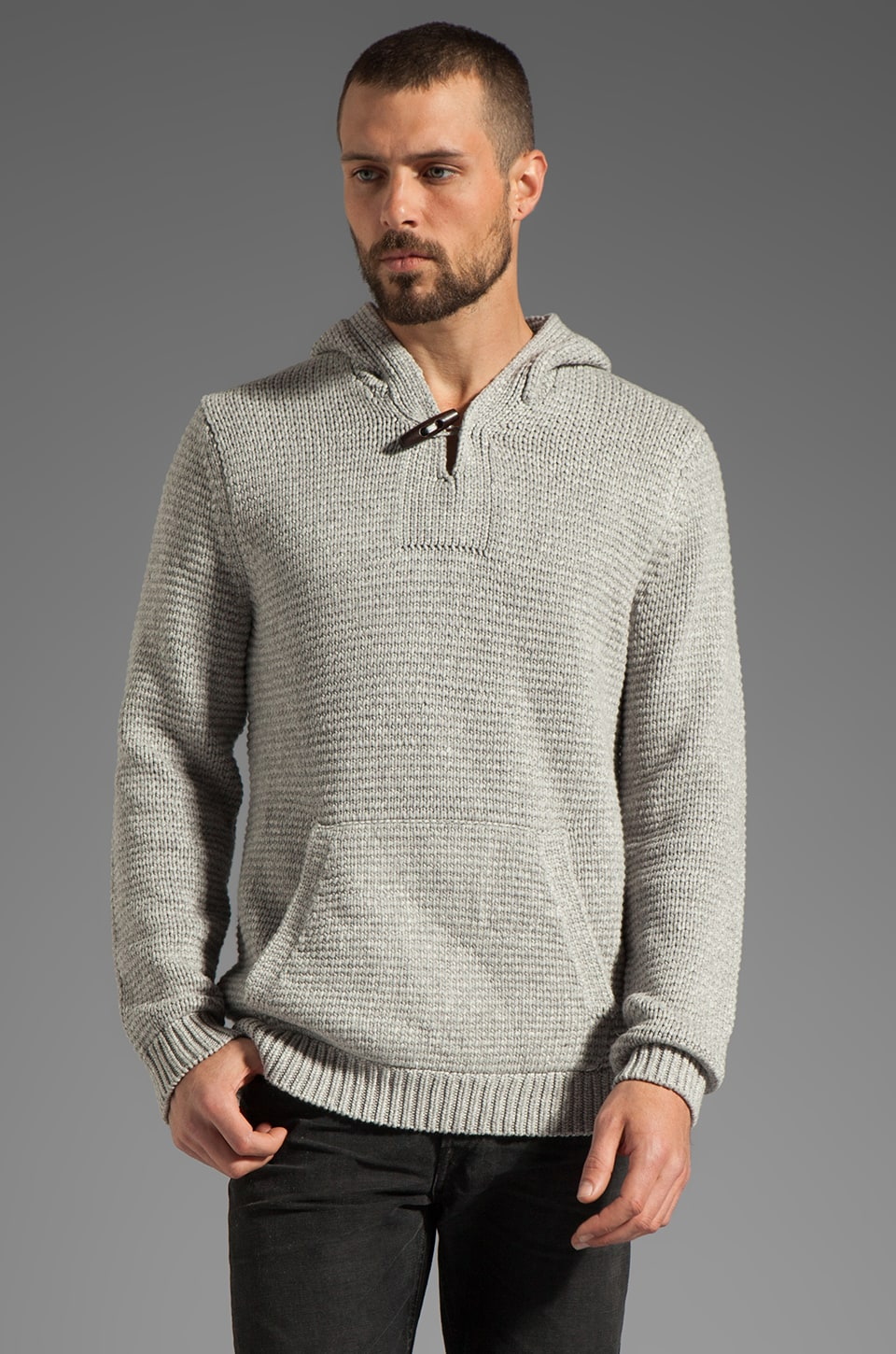 Vince Heather Corded Sweater in Heather Steel