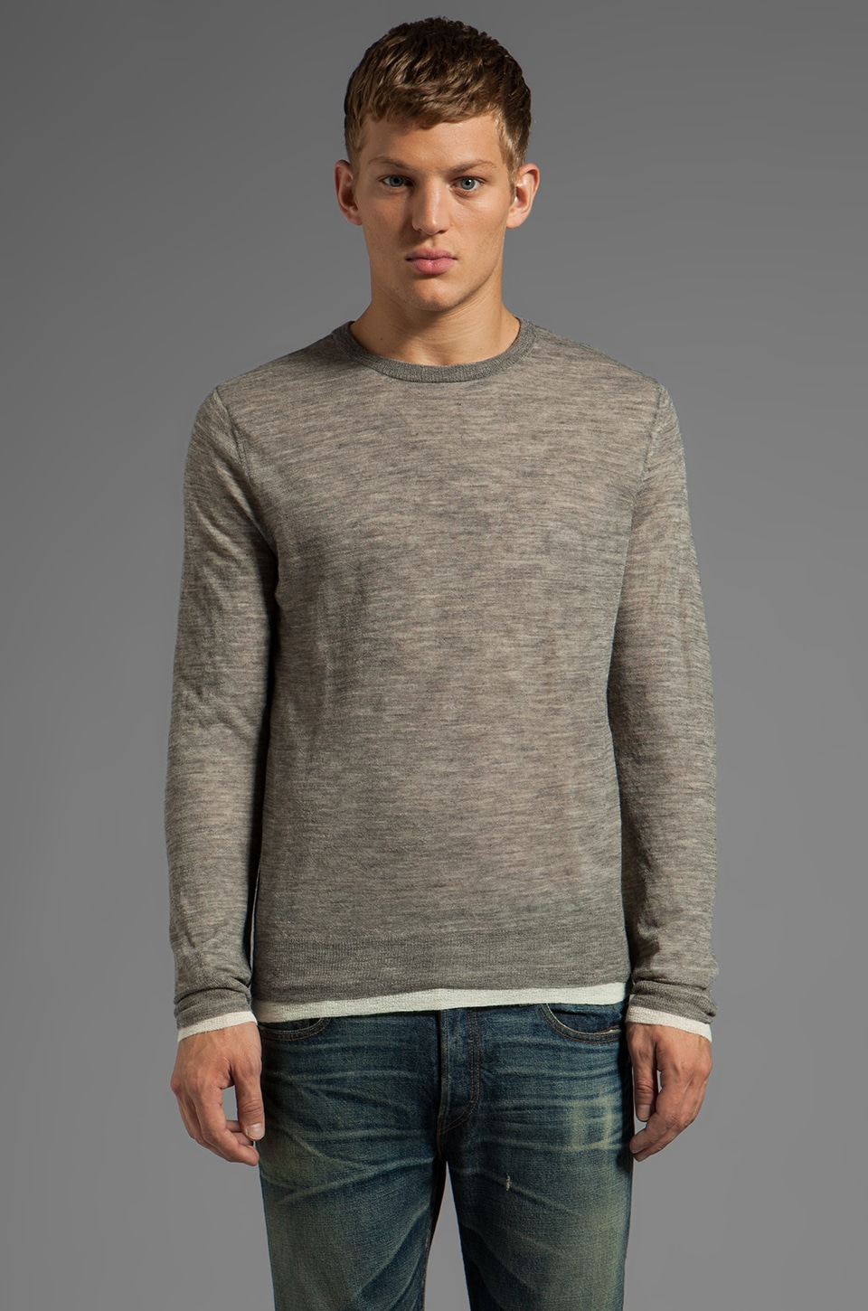 Vince Double Layer Sweater in Heather Cinder