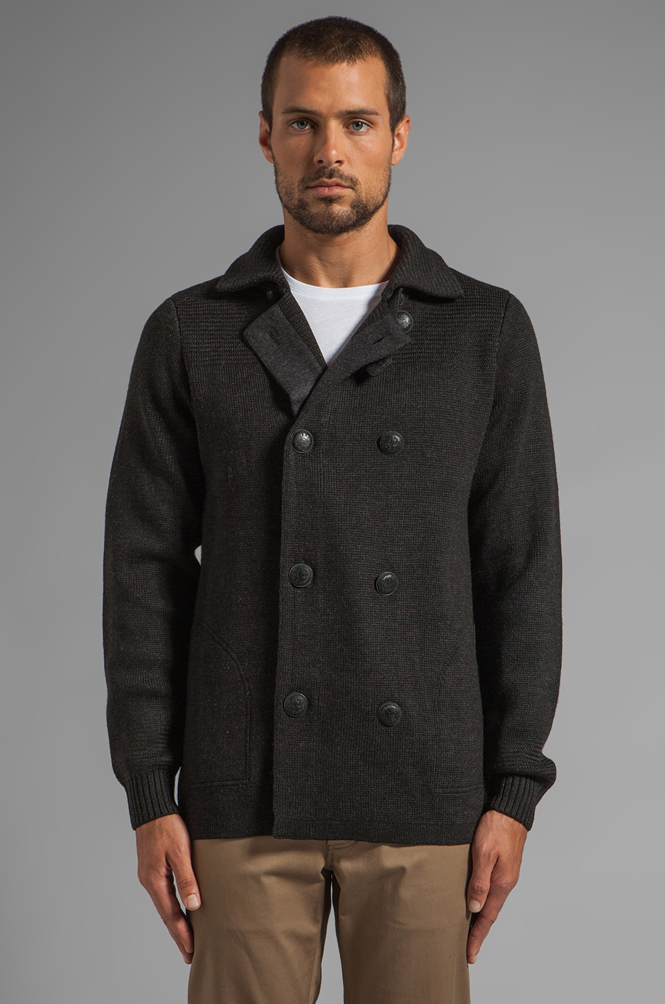 Vince Wool Peacoat Sweater in Heather Black