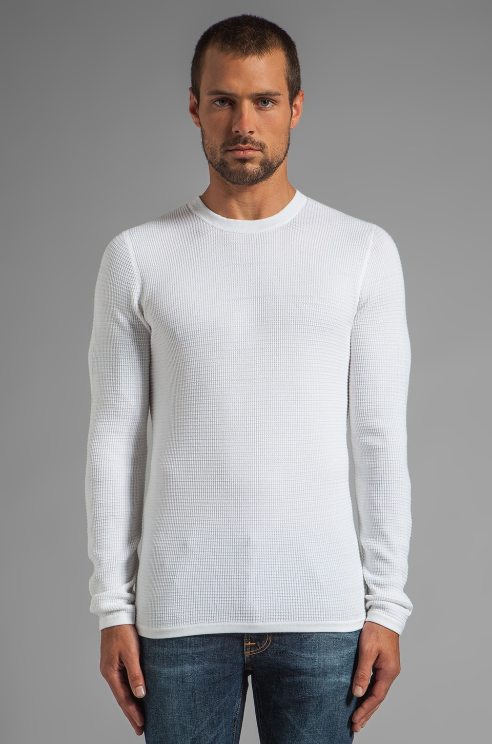 Vince Thermal Crew Neck Sweater in White
