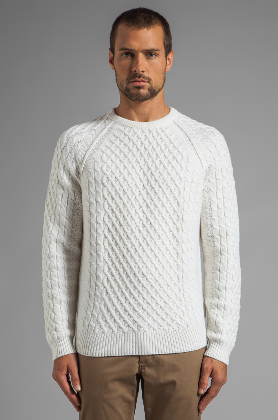 Vince Fisherman Cable Sweater in Pearl