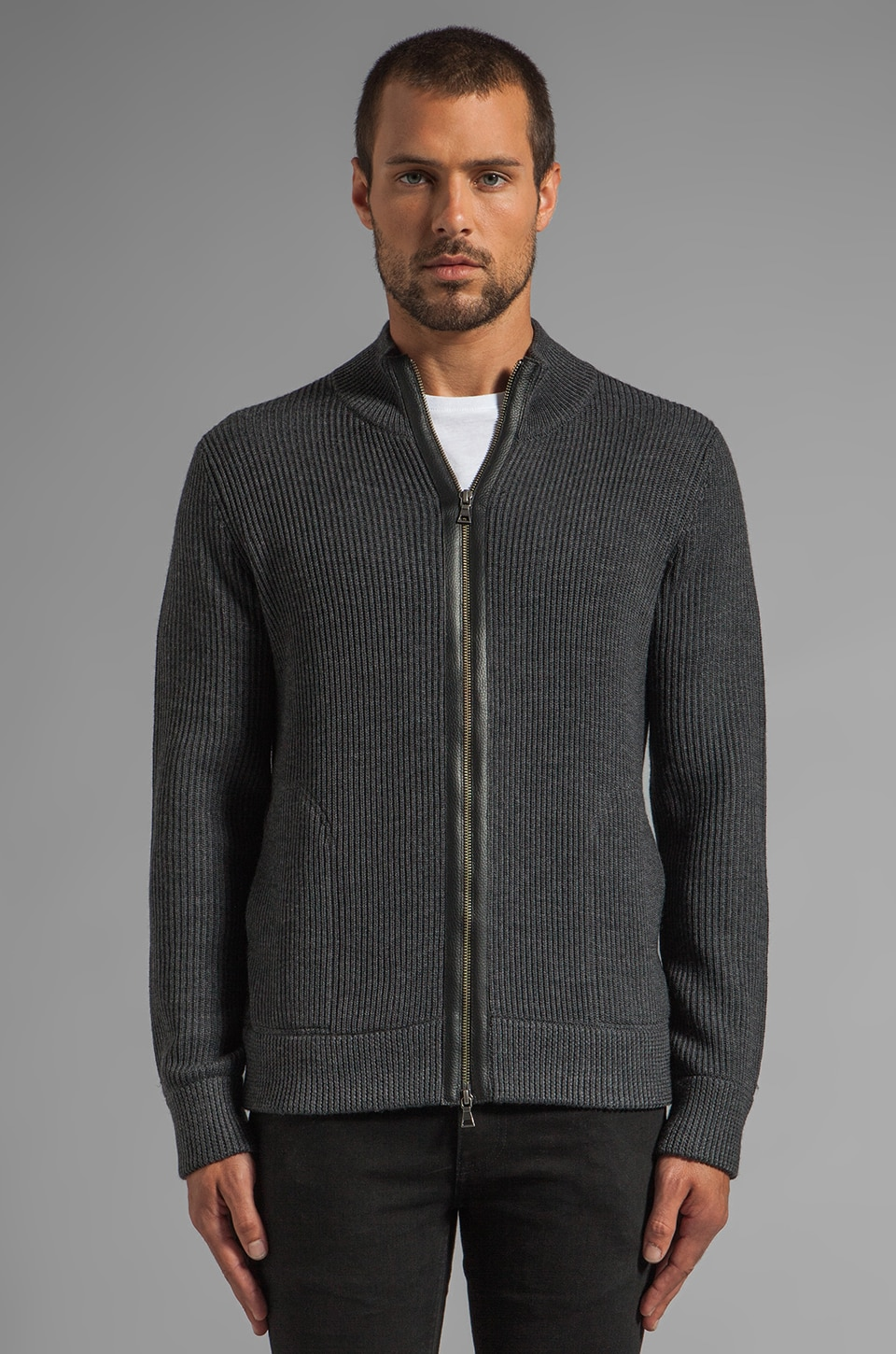 Vince Military Full-Zip Mock Cardigan in Heather Shadow
