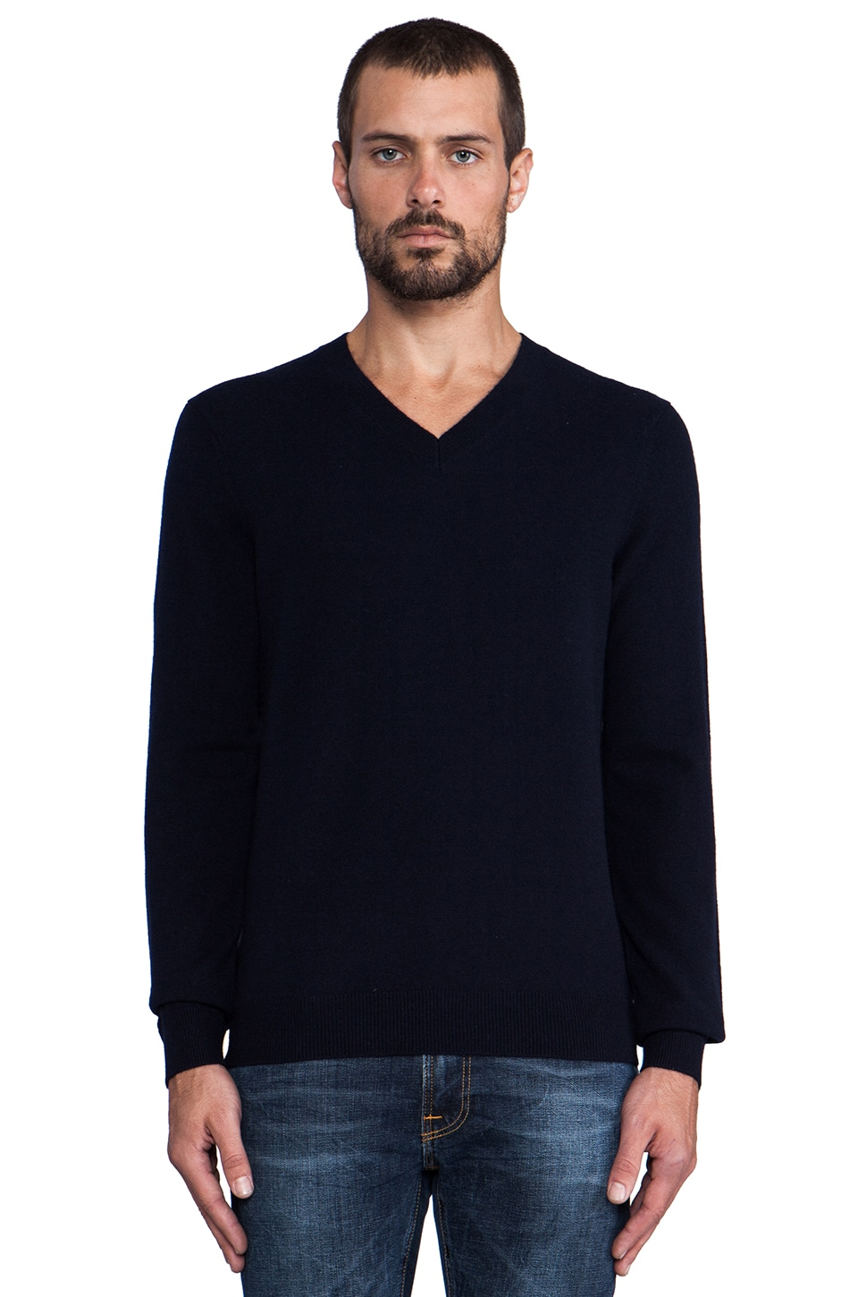 Vince 100% Cashmere V-Neck Sweater in Coastal