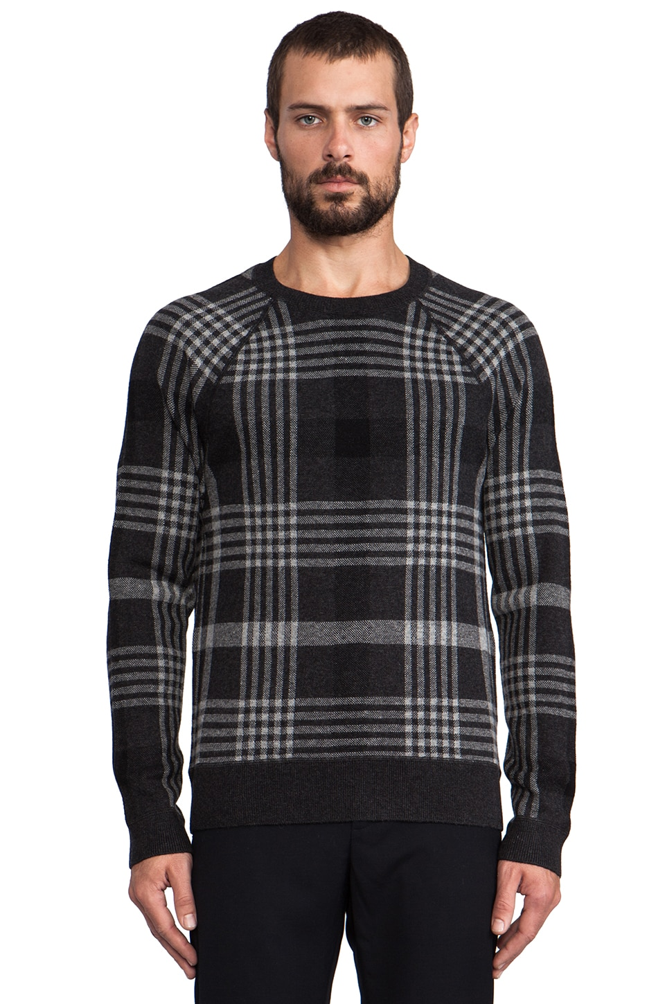 Vince Plaid Pullover Sweater in Heather Shadow