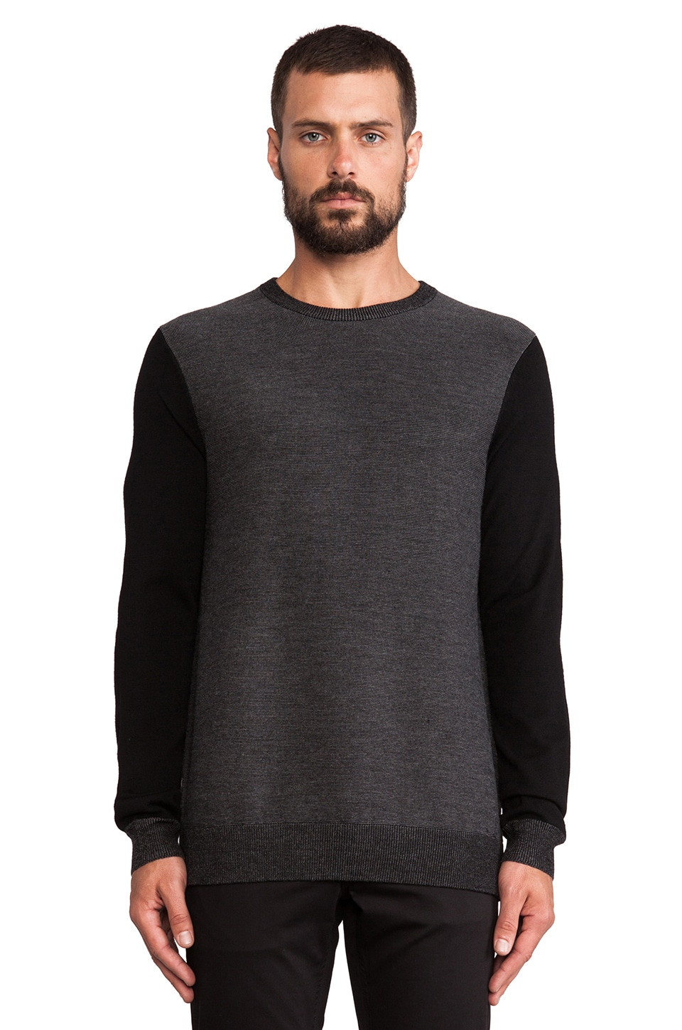 Vince Contrast Sleeve Striped Pullover in Black