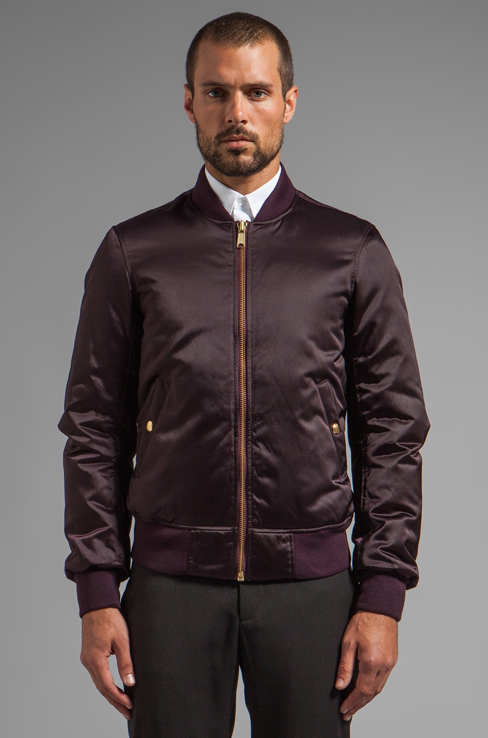 Vince Down Filled Nylon Bomber Jacket in Eggplant
